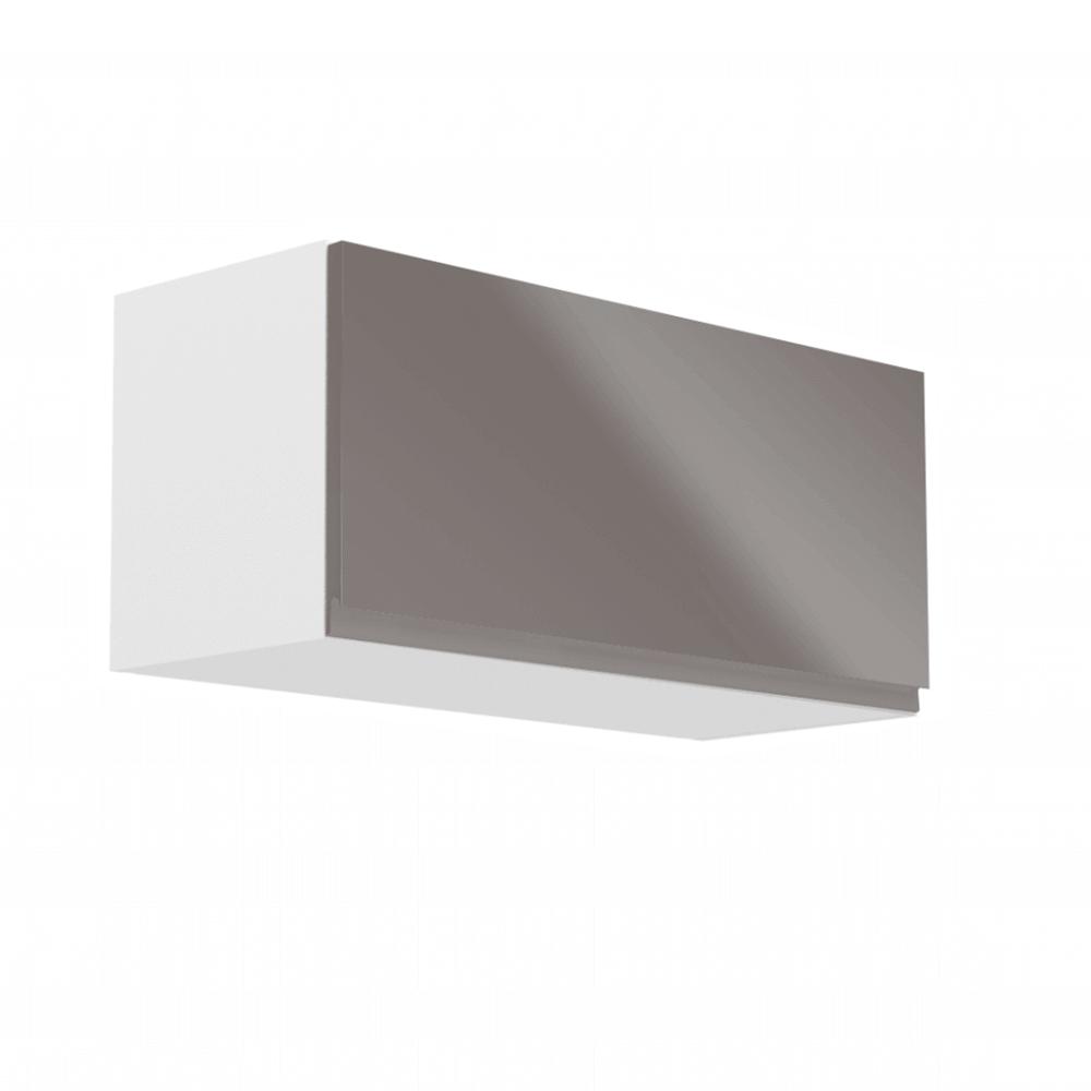 Horná skrinka, biela/sivý extra vysoký lesk, AURORA G80K