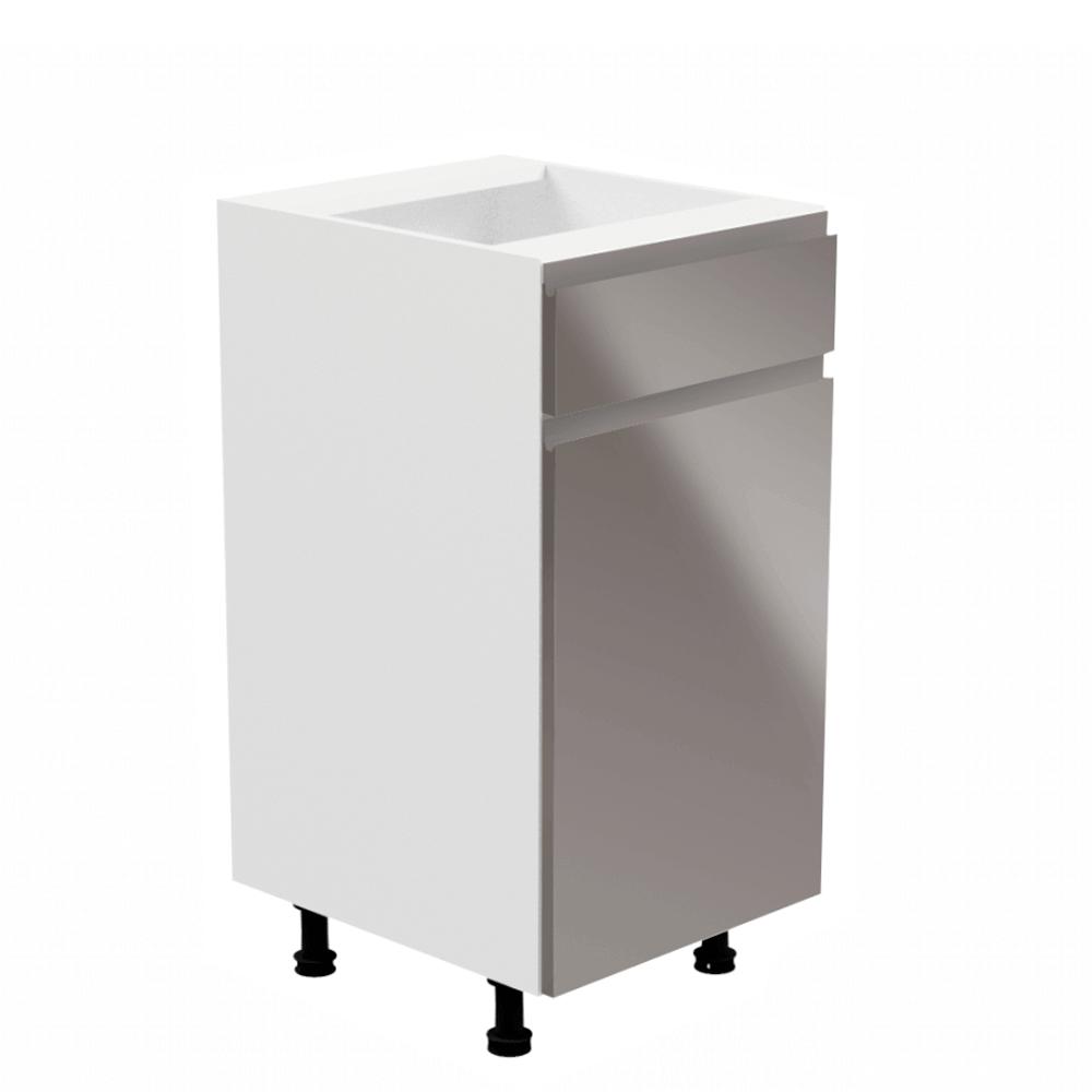 Spodná skrinka, biela/sivá extra vysoký lesk, pravá, AURORA D40S1