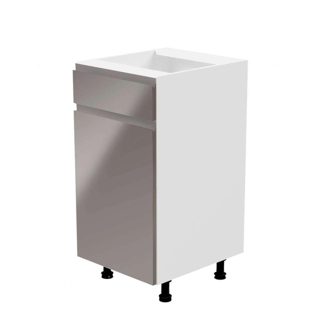 Spodná skrinka, biela/sivá extra vysoký lesk, ľavá, AURORA D40S1