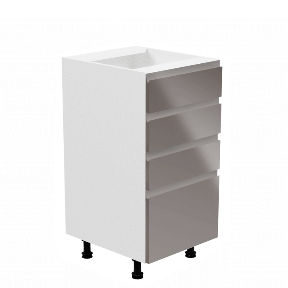 Alsószekrény, fehér/szürke extra magasfényű, AURORA D40S4