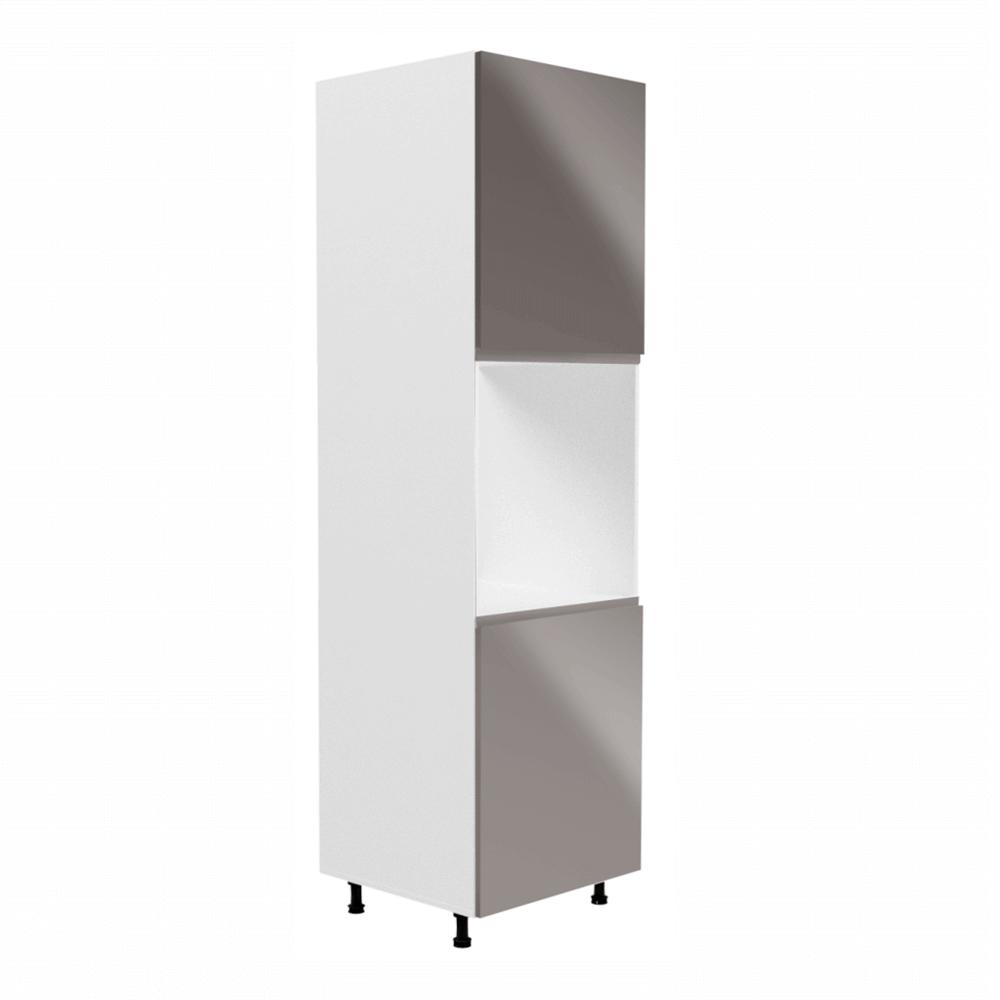 Hűtőgép szekrény, fehér/szürke extra magasfényű, AURORA D60P