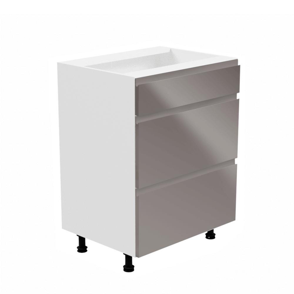 Alsószekrény, fehér/szürke extra magasfényű, AURORA D60S3
