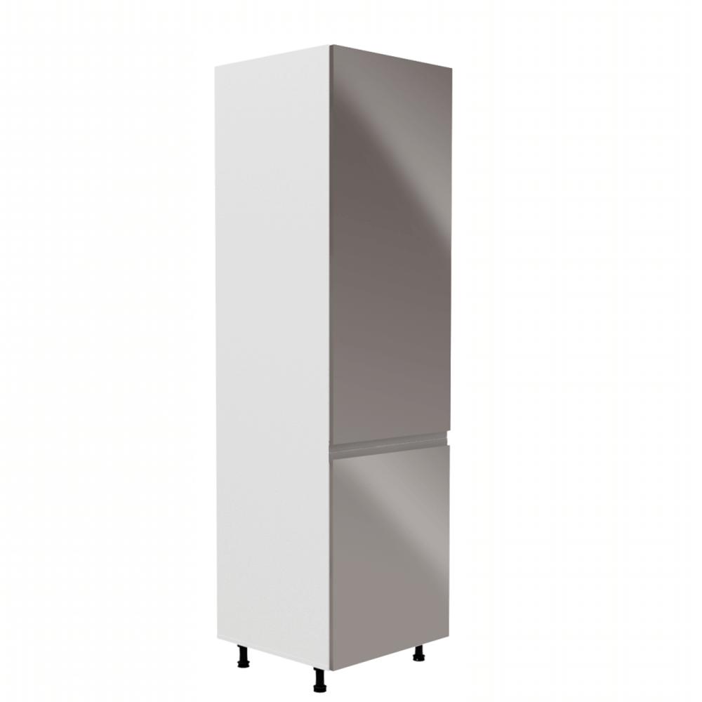 Skrinka na chladničku, biela/sivá extra vysoký lesk, pravá, AURORA D60ZL
