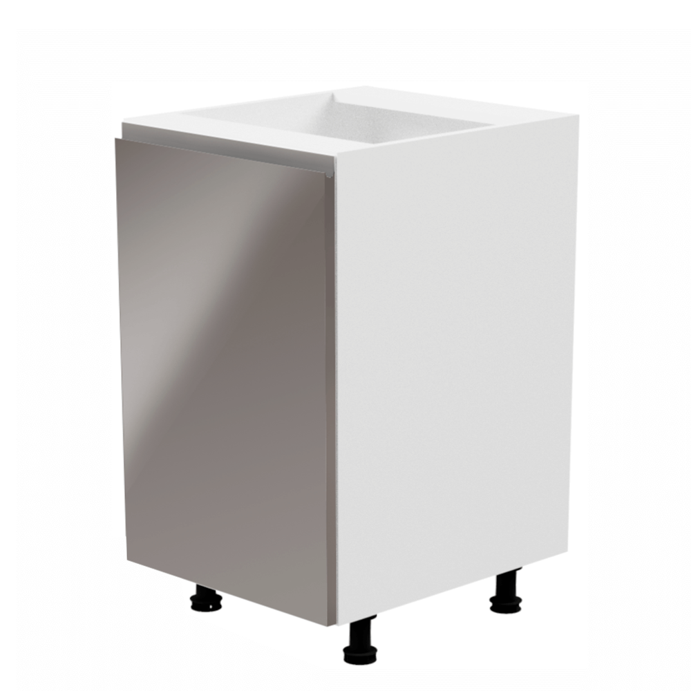 Alsószekrény, fehér/szürke extra magasfényű, balos, AURORA D601F