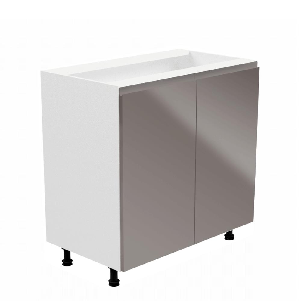 Alsószekrény, fehér/szürke extra magasfényű, AURORA D80