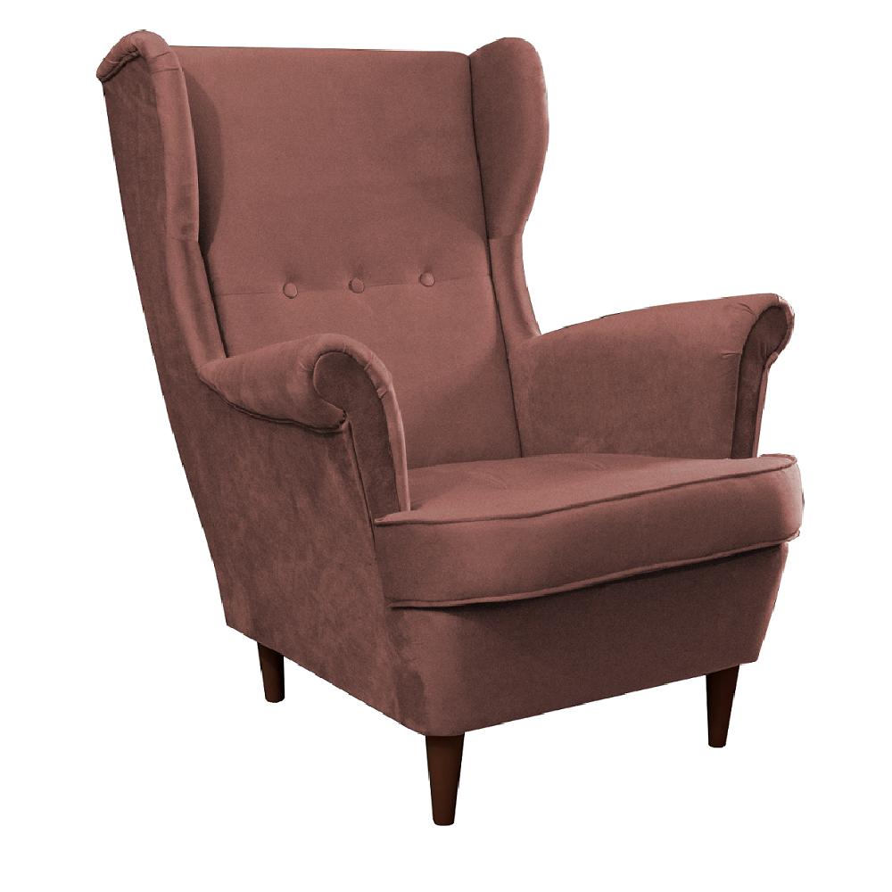 Füles fotel, vén rózsaszín/dió, RUFINO