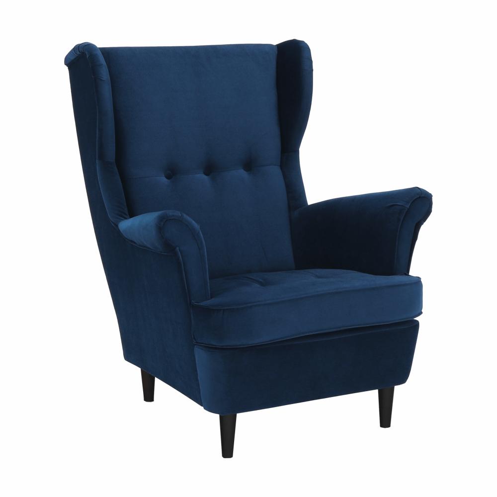 Füles fotel, kék/dió, RUFINO