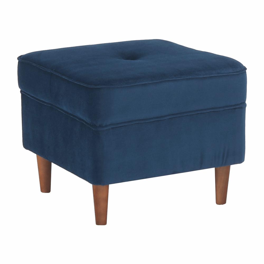 Moderný taburet, modrá/orech, RUFINO