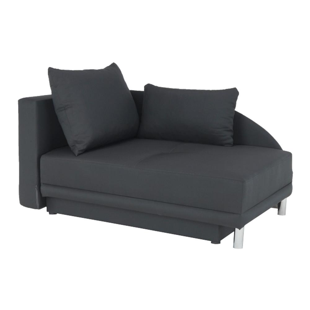 Kinyitható kanapé, szürke-fekete szövet, balos, LAUREL
