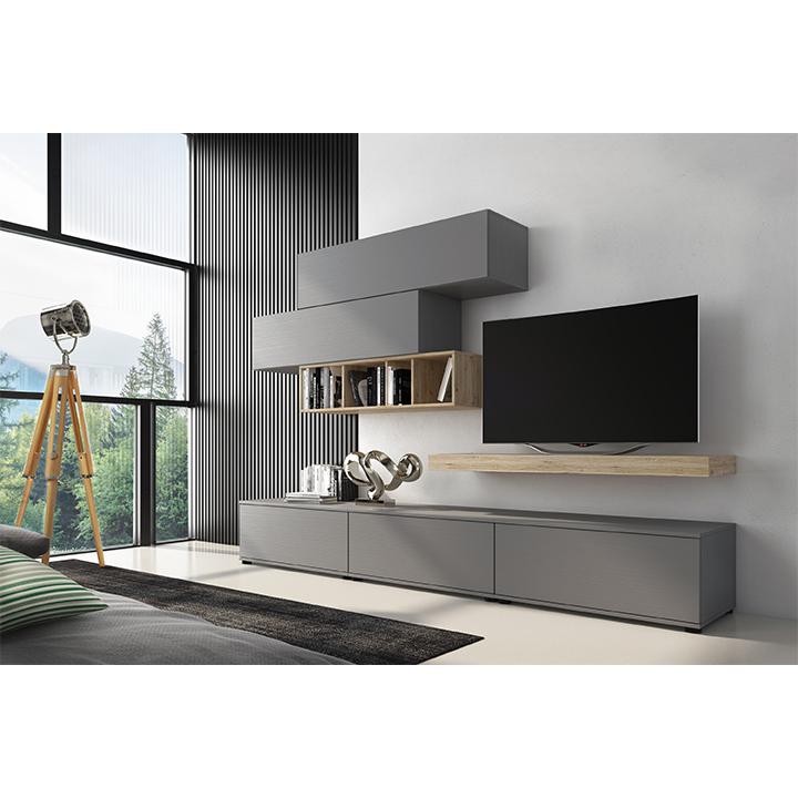 Obývacia stena, sivá/dub san remo, KORFU, rozbalený tovar