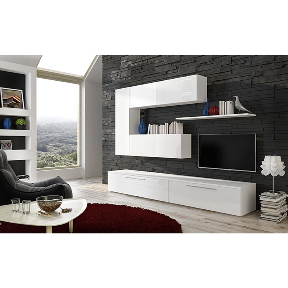Obývacia stena, biela/biely extra vysoký lesk HG, ARIZONA