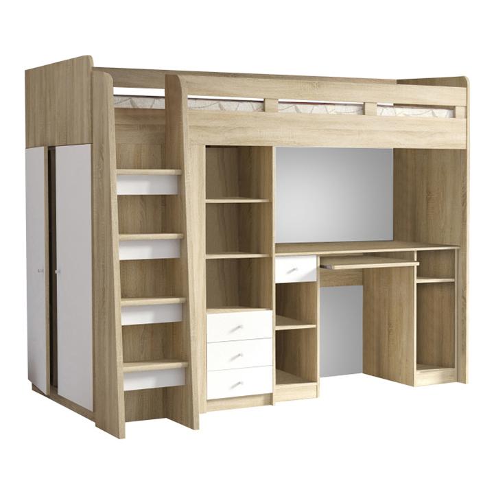 Kombinovaná viacúčelová posteľ, dub sonoma/biela, SUN