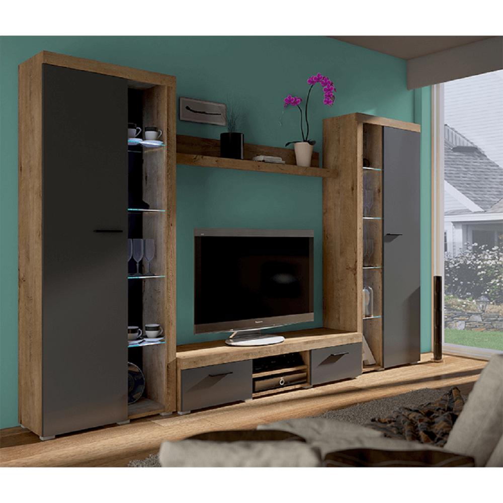 NESEBAR - obývací stěna, dub lefkas/grafit,  TEMPO KONDELA