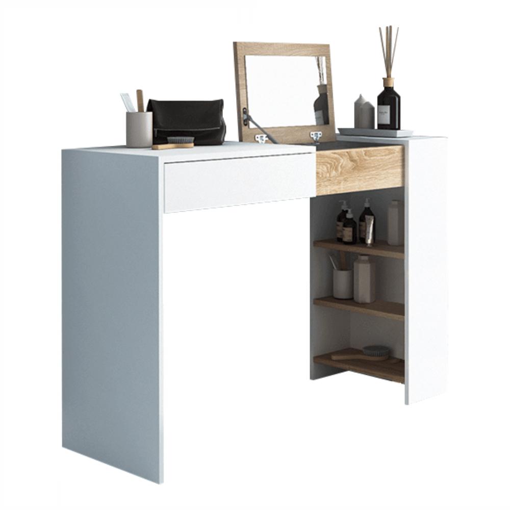 Toaletný stolík/písací stôl, biela/dub sonoma, ELIS