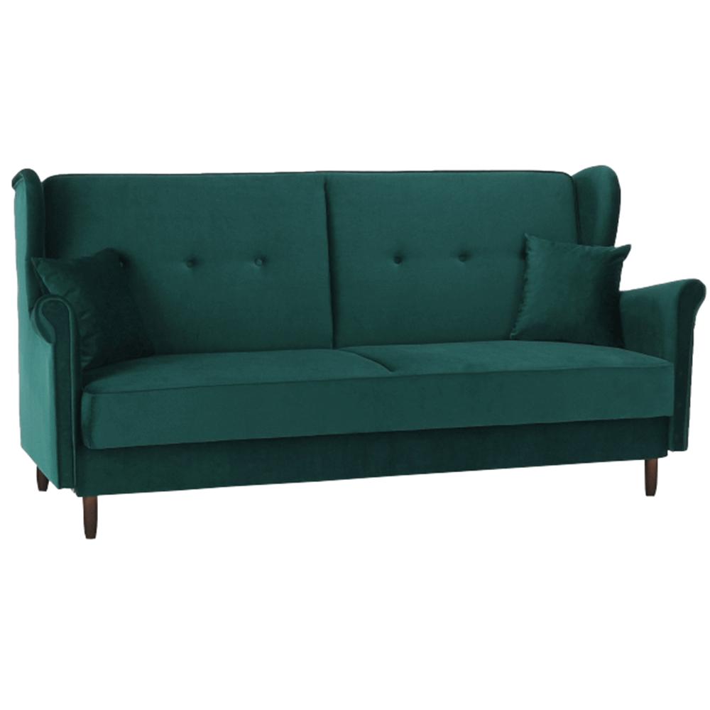 Kinyitható kanapé, zöld szövet, COLUMBUS