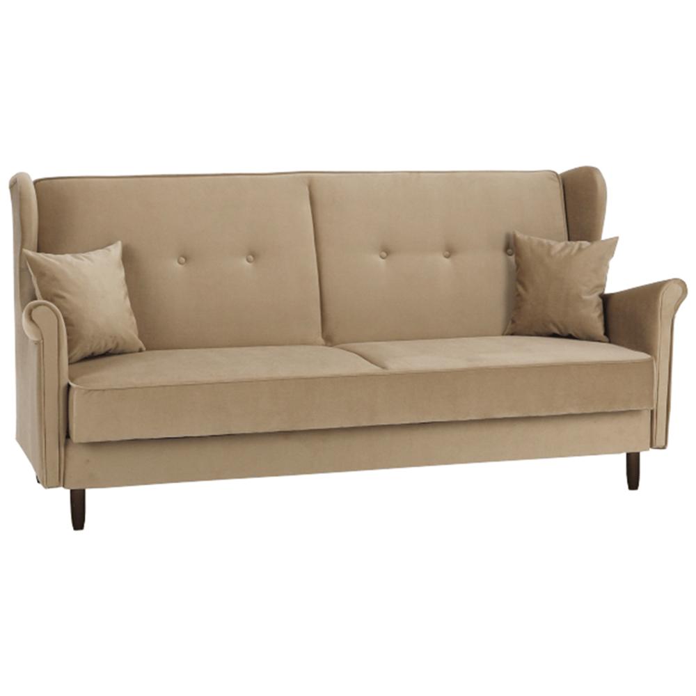 Kinyitható kanapé, arany-bézs szövet, COLUMBUS