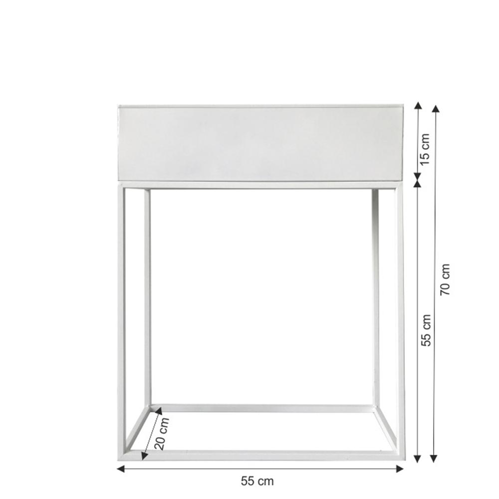 Multifunkční kovový květináč, bílá, INDIZE TYP 3
