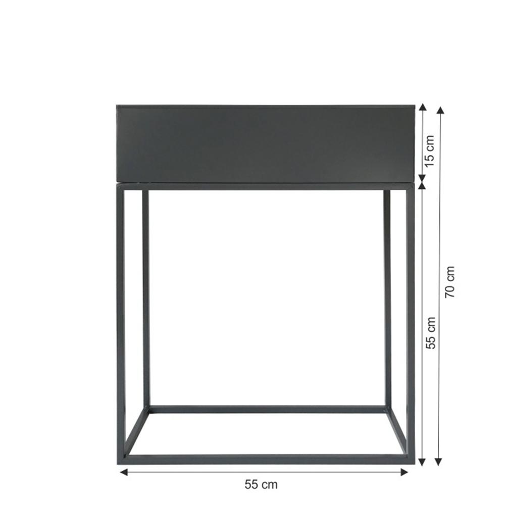 Multifunkční kovový květináč, tmavě šedá, INDIZE TYP 3