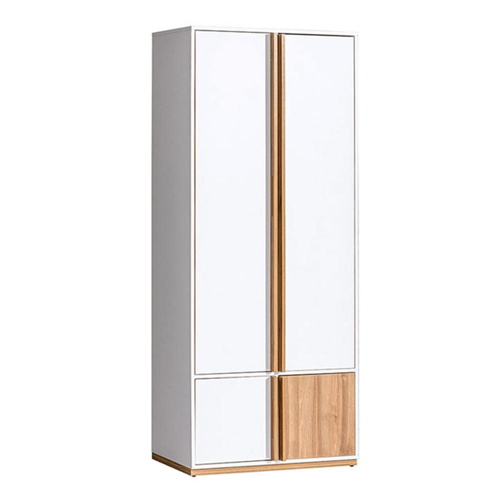 2-dveřová skříň, ořech select / bílá, KNOX E1, TEMPO KONDELA
