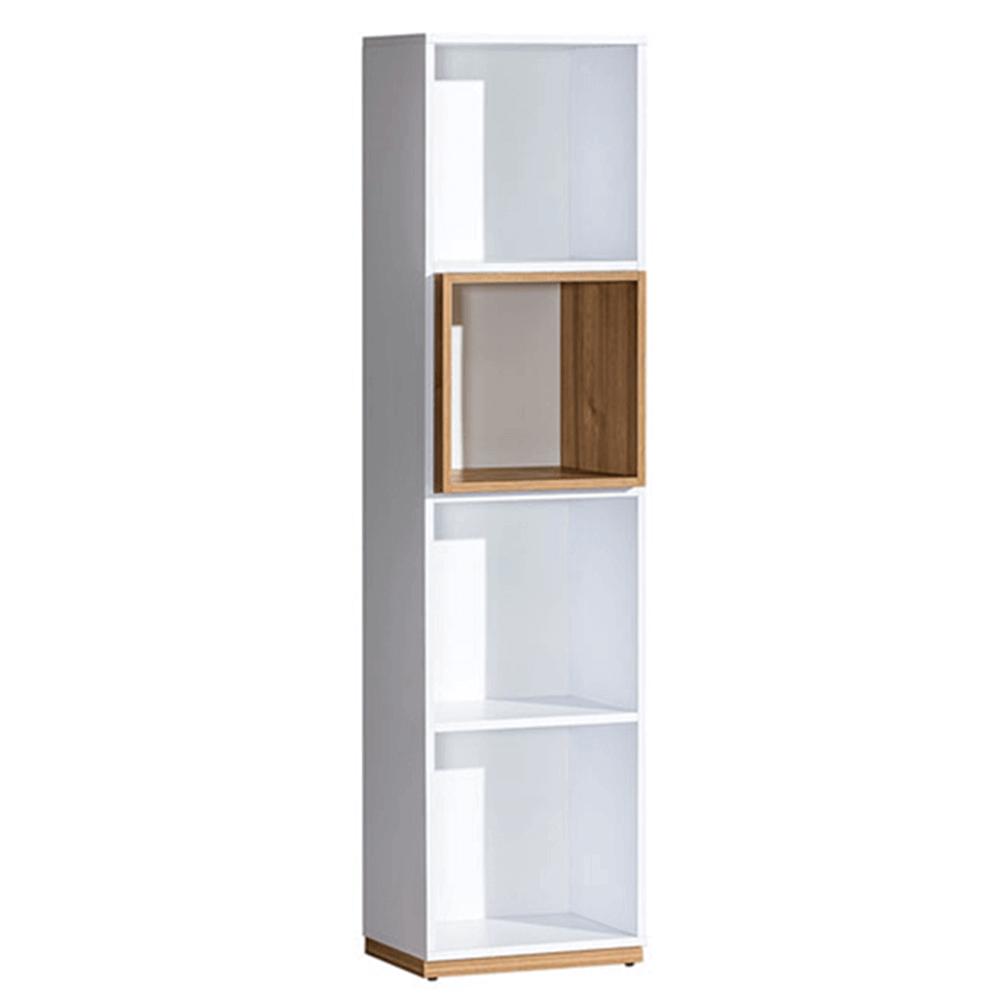 Könyvespolc, dió select/fehér, KNOX E8