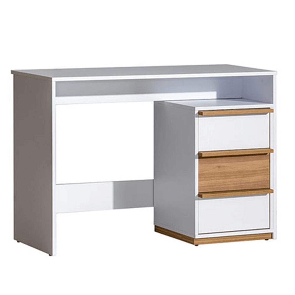 PC stůl, ořech select / bílá, KNOX E14, TEMPO KONDELA
