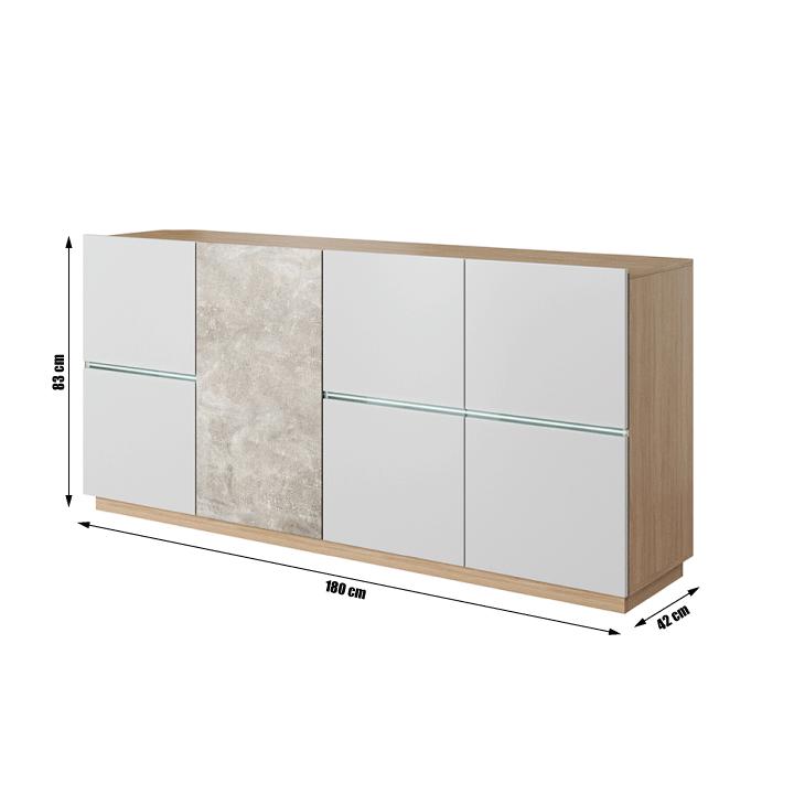 Komód, beton/tölgy borostyán/fehér matt, LAGUNA 180