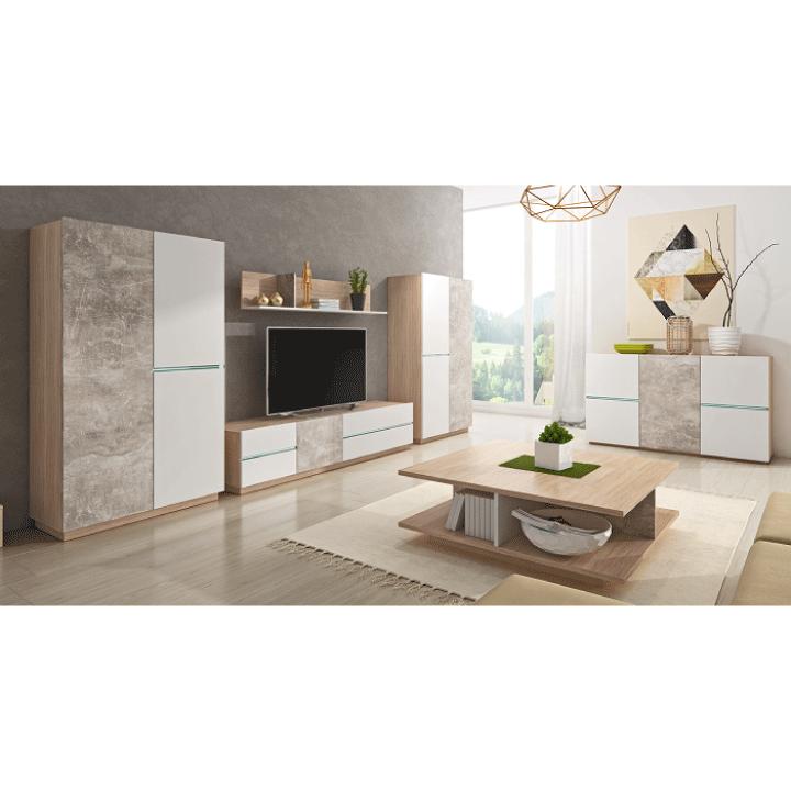 RTV asztal, beton/tölgy borostyán/fehér matt, LAGUNA 180