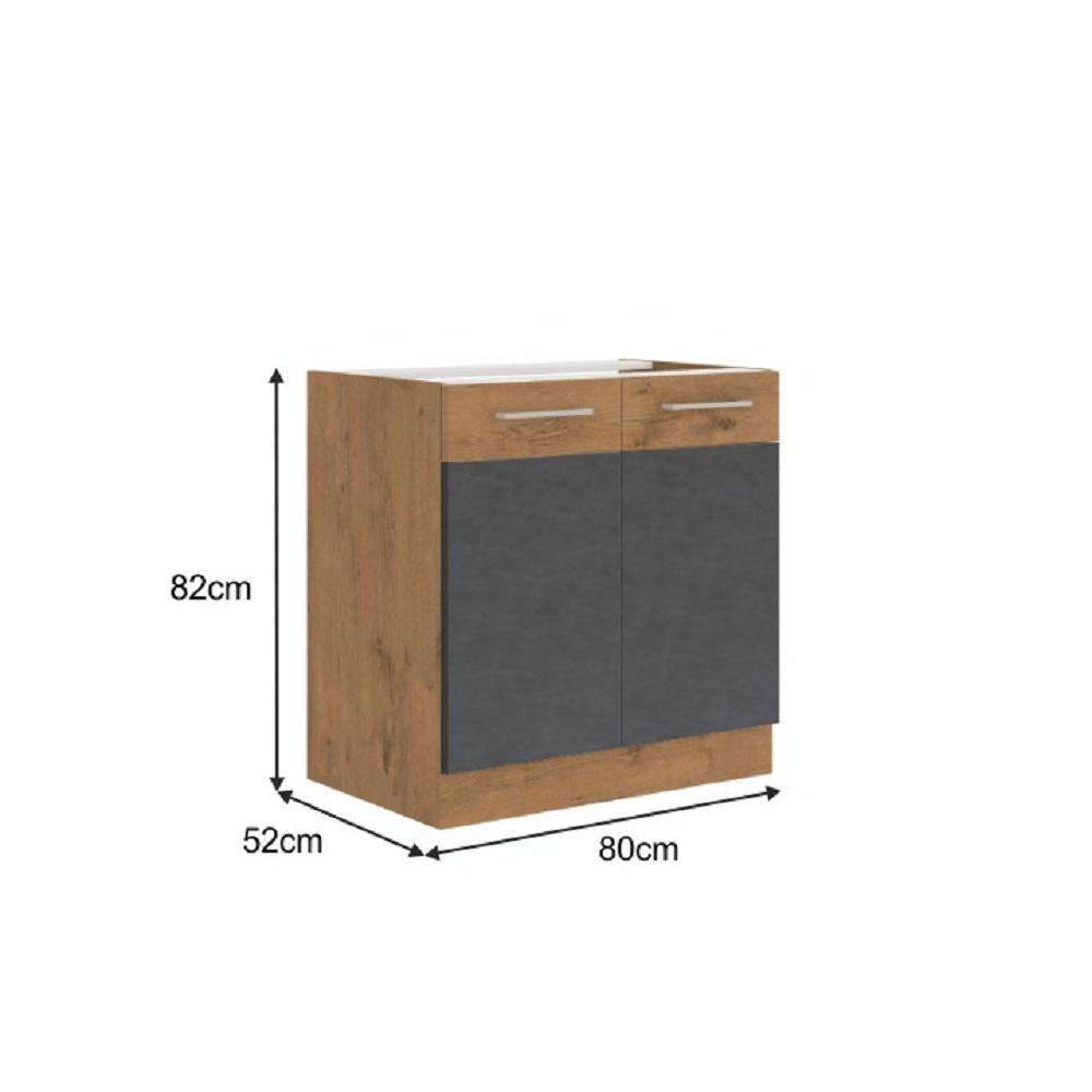 Spodní skříňka, šedá matná / dub lancelot, VEGA 80 D 2F BB