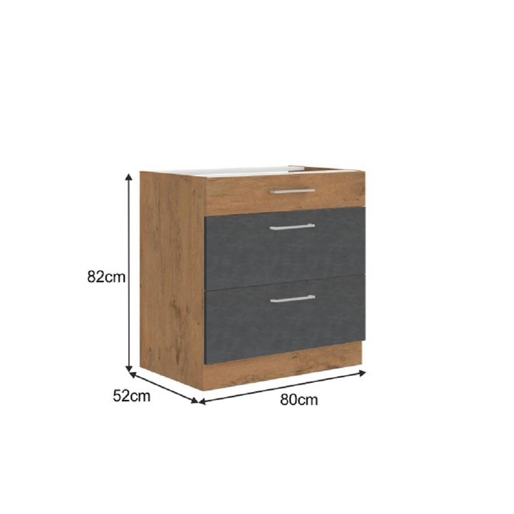 Spodní skříňka, šedá matná / dub lancelot, VEGA 80 D 3S BB
