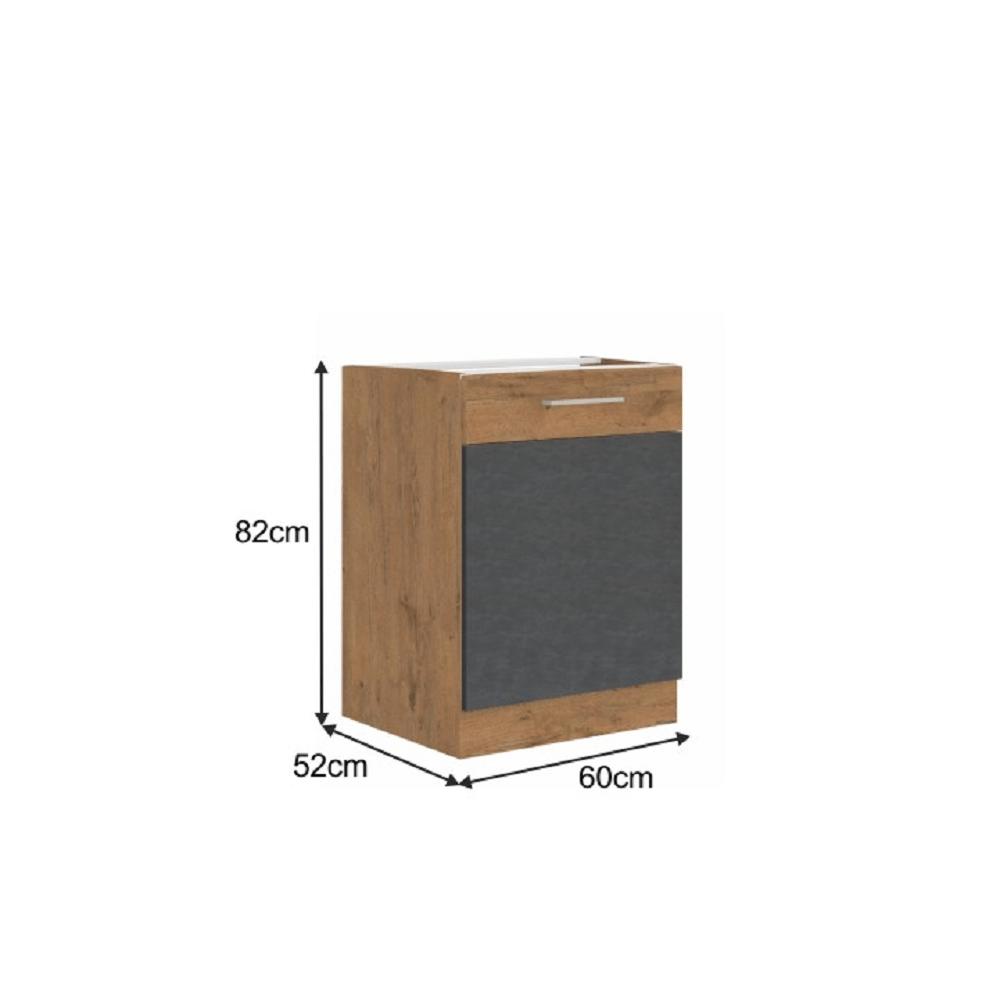 Spodní skříňka, šedá matná / dub lancelot, VEGA 60 D 1F BB