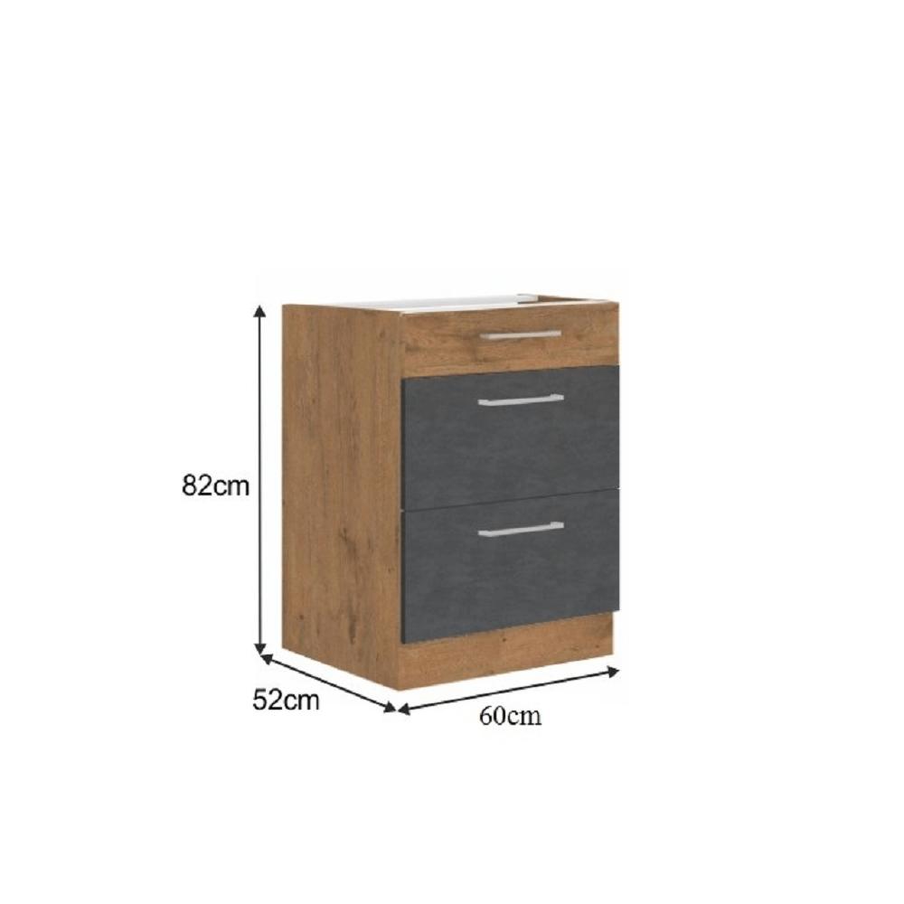 Spodní skříňka, šedá matná / dub lancelot, VEGA 60 D 3S BB