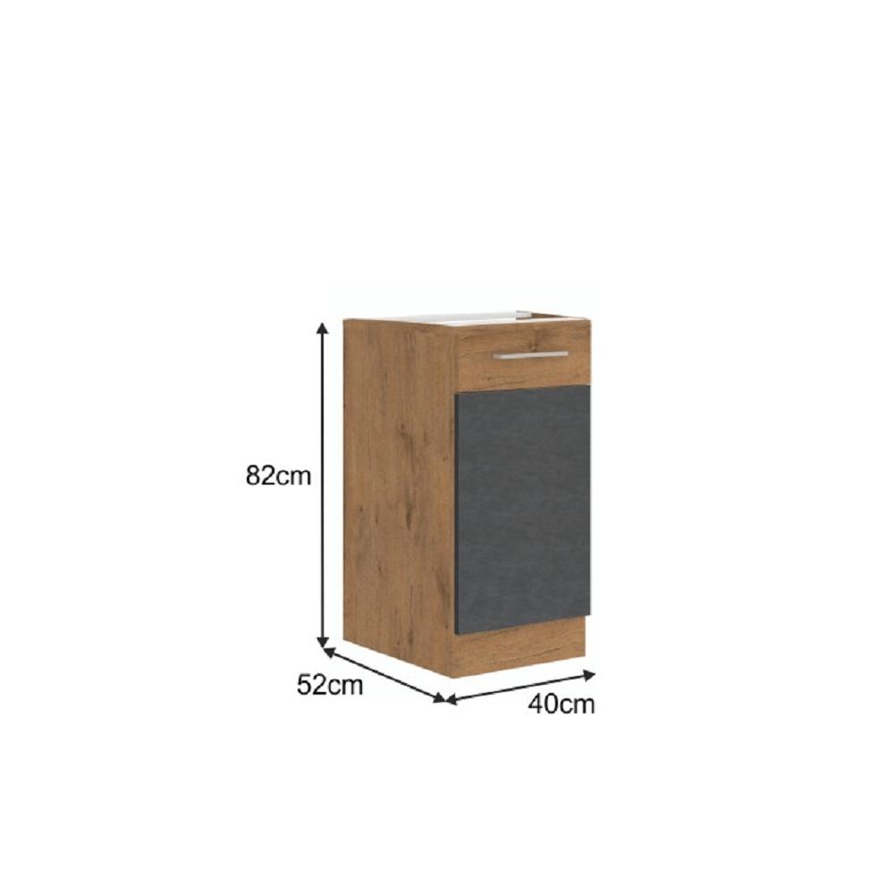 Spodní skříňka, šedá matná / dub lancelot, VEGA 40 D 1F BB