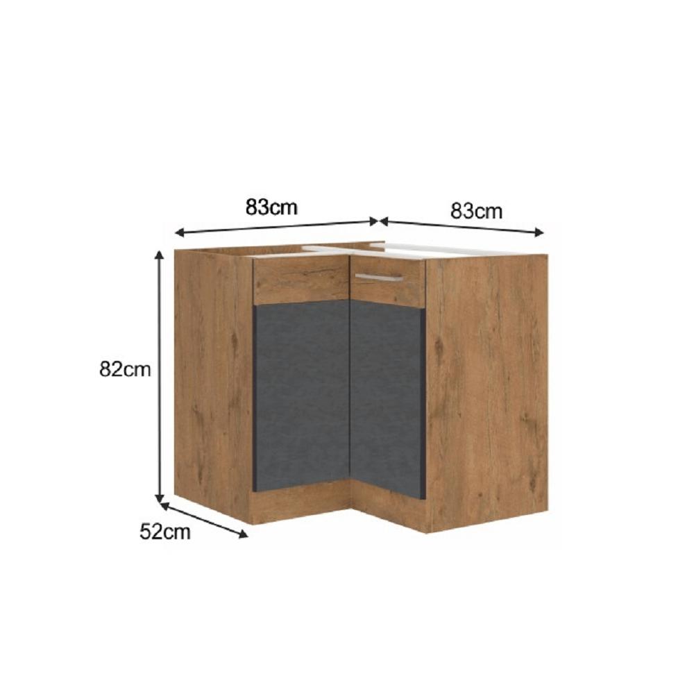 Spodní rohová skříňka, šedá matná / dub lancelot, VEGA 90x90 DN 1F BB