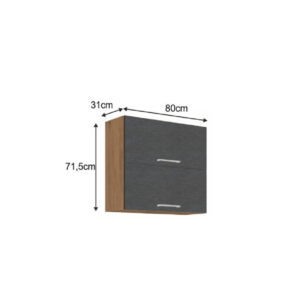 Horní skříňka, dub lancelot / šedá matná, VEGA 80 GU-72 2F