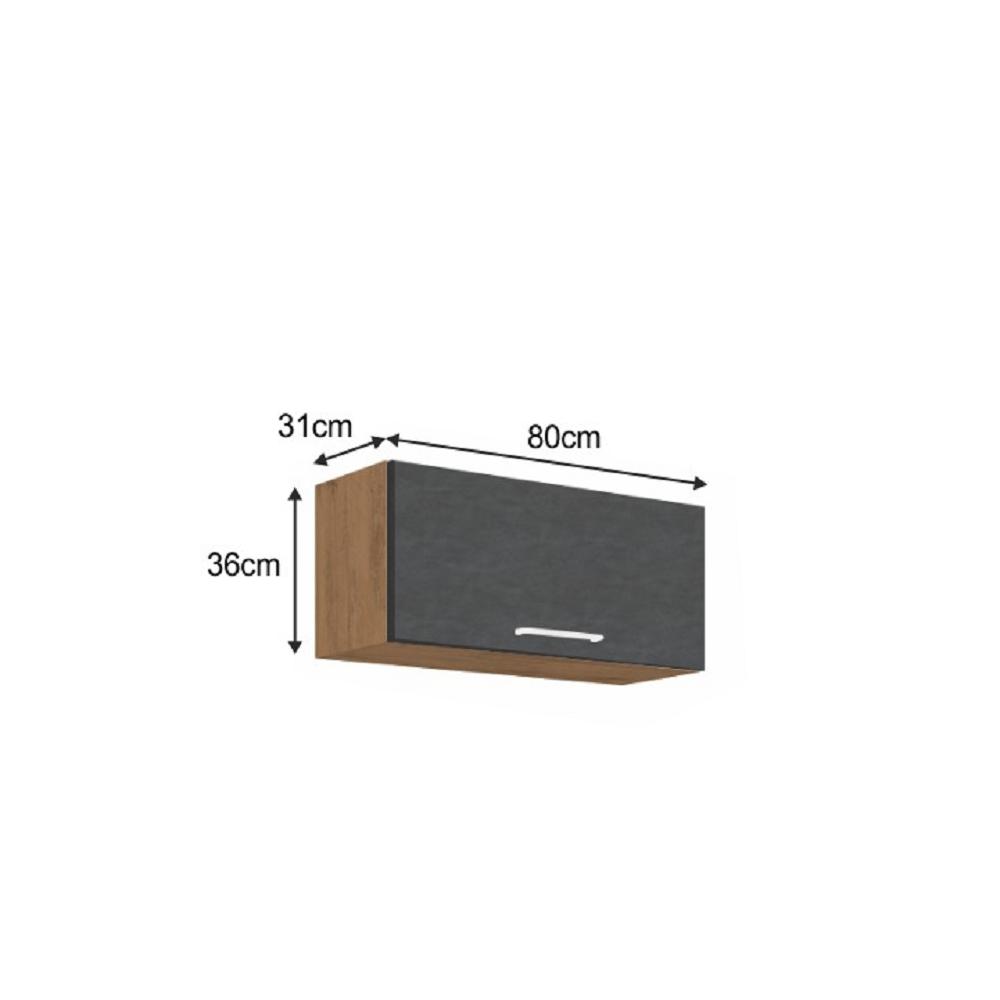Horní skříňka, dub lancelot / šedá matná, VEGA 80 GU-36 1F