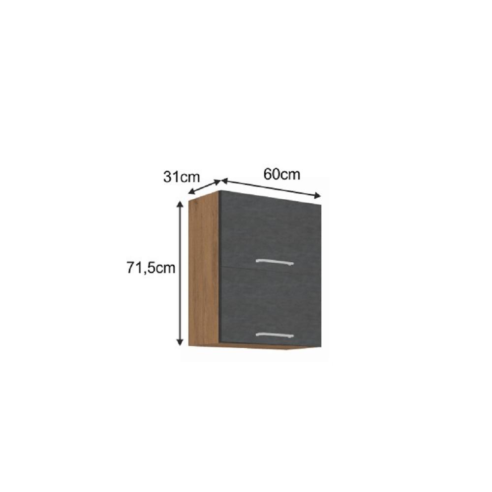 Horní skříňka, dub lancelot / šedá matná, VEGA 60 GU-72 2F