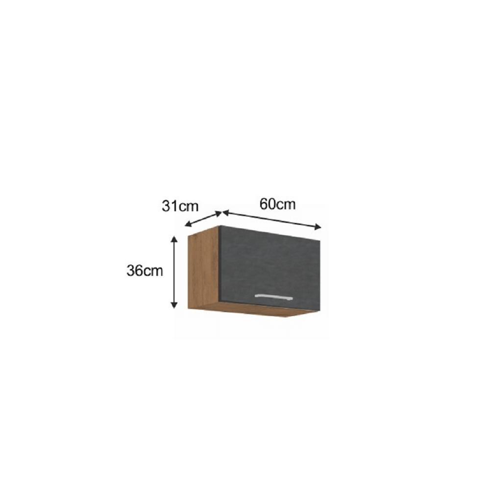 Horní skříňka, dub lancelot / šedá matná, VEGA 60 GU-36 1F