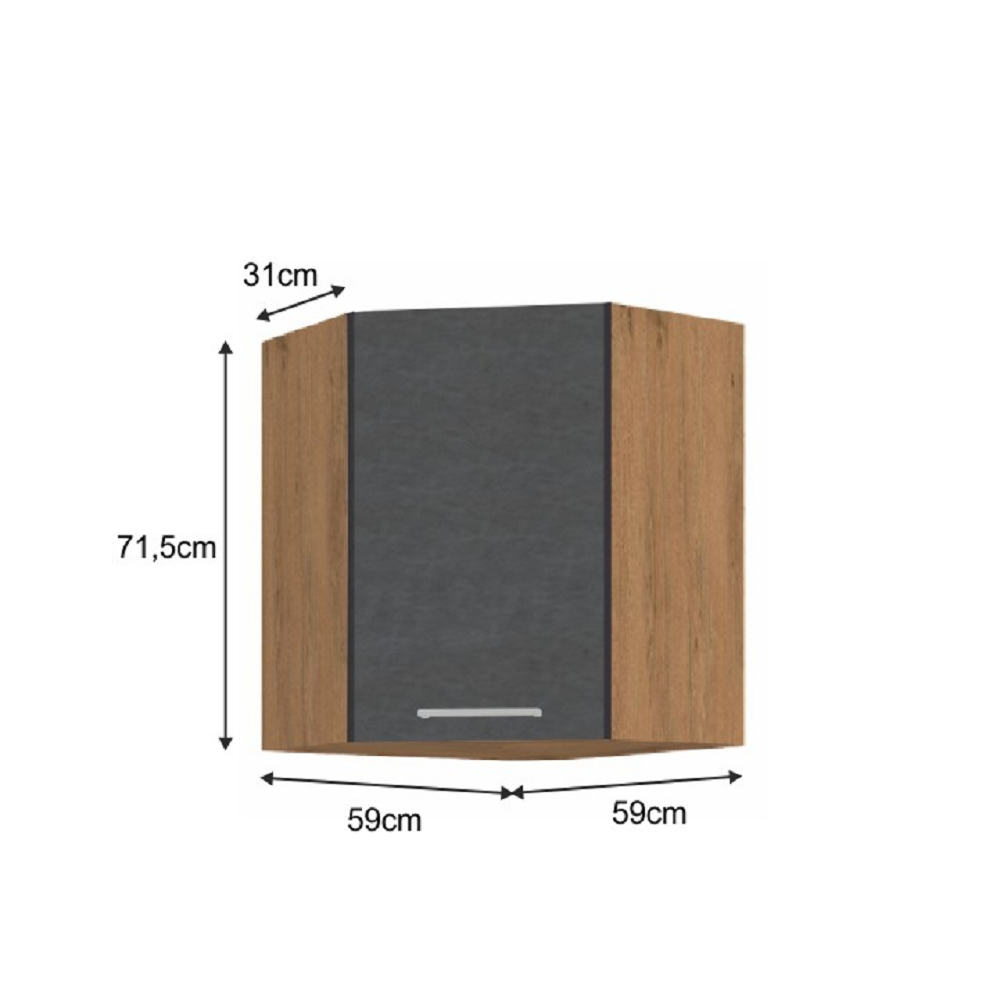 Horní skříňka, dub lancelot / šedá matná, VEGA 58x58 GN-72 1F