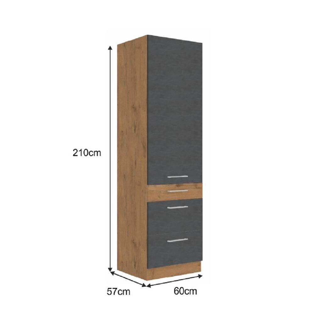 Vysoká skříňka, dub lancelot / šedá matná, VEGA 60 DKS-210 3S 1F