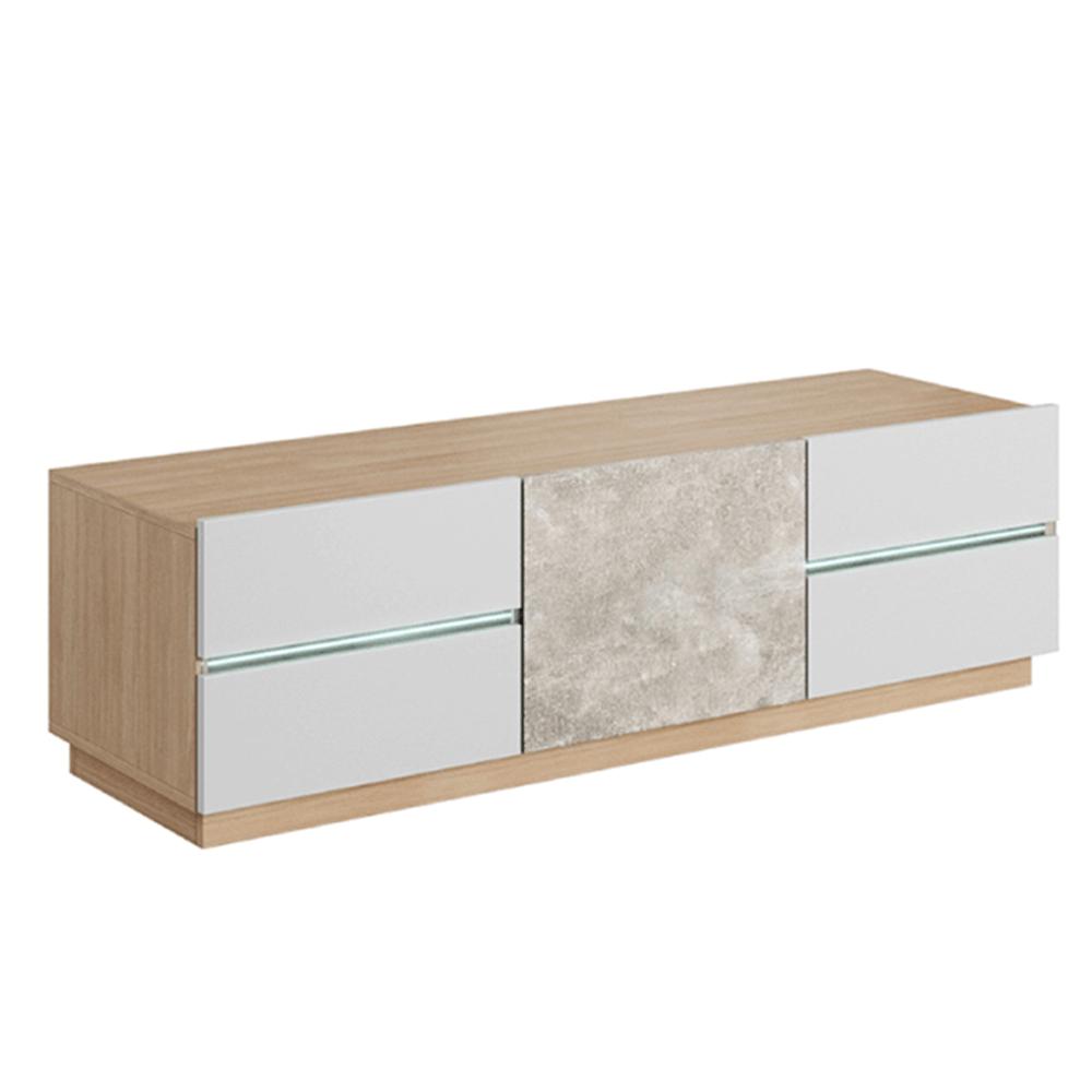 RTV asztal, beton/tölgy borostyán/fehér LAGUNA 135