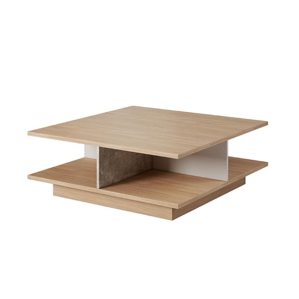 Măsuţă de cafea, beton/stejar jantar/alb mat, LAGUNA