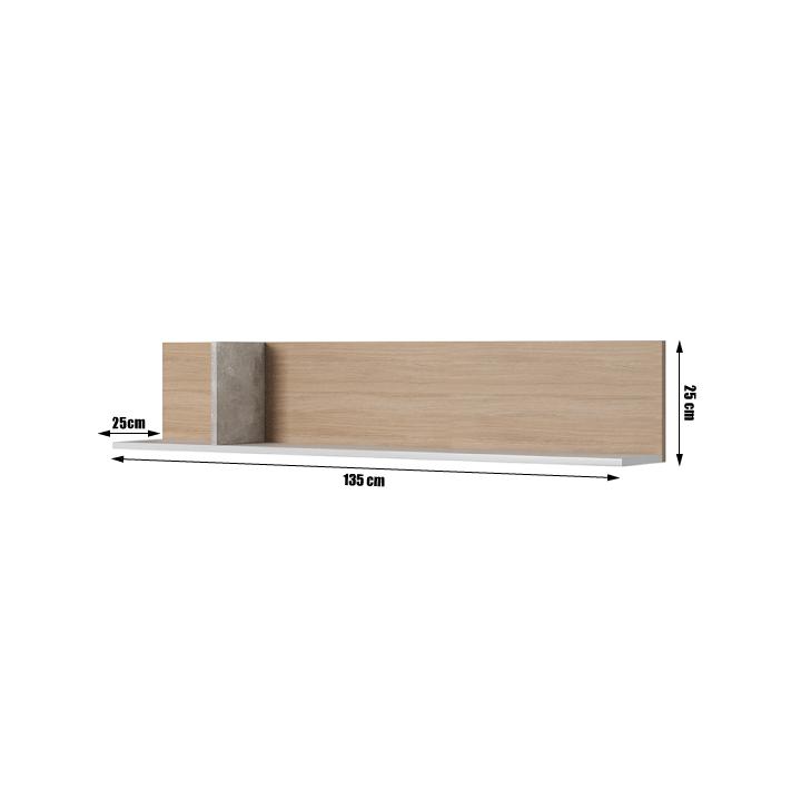 Polc, beton/tölgy borostyán/fehér matt, LAGUNA
