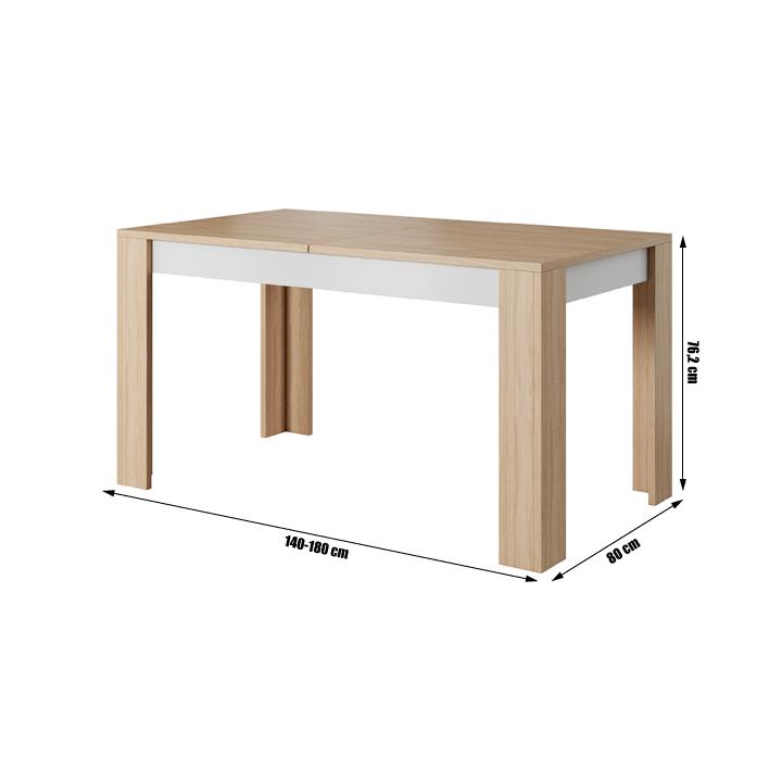 Nyitható étkezőasztal, beton/tölgy borostyán/fehér matt, LAGUNA