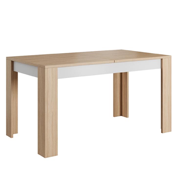 Jedálenský stôl rozkladací, betón/dub jantár/biely mat, LAGUNA