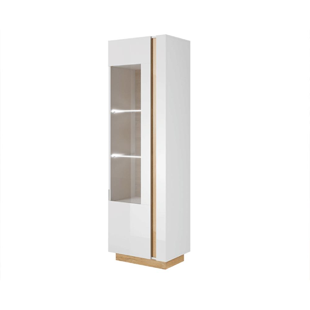 Magas vitrines szekrény 60, fehér/tölgy grandson/magasfényű fehér, CITY