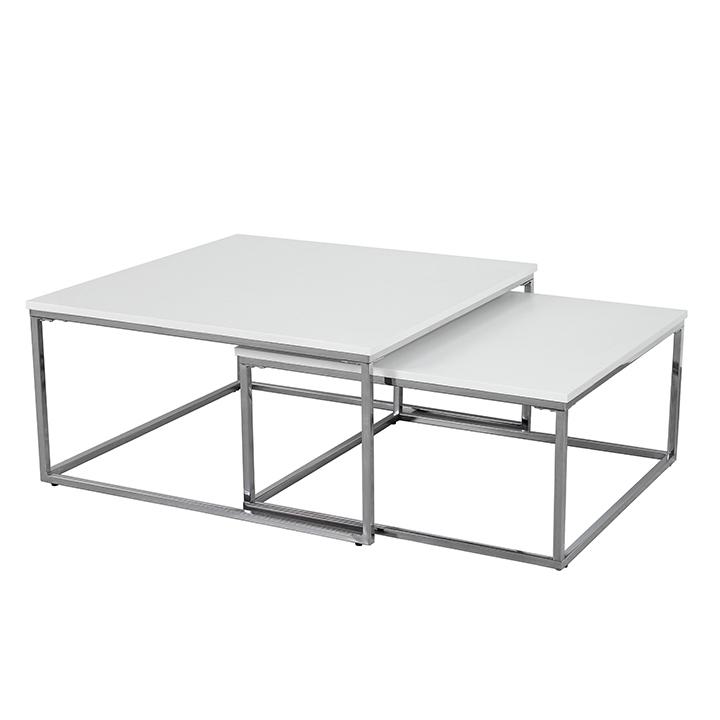 Konferenční stolek, chrom / bílá, ENISOL TYP 1
