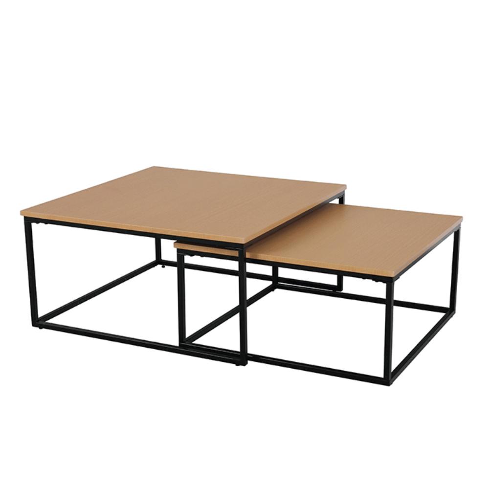 Konferenčné stolíky, set 2 ks, buk/čierna, KASTLER TYP 1