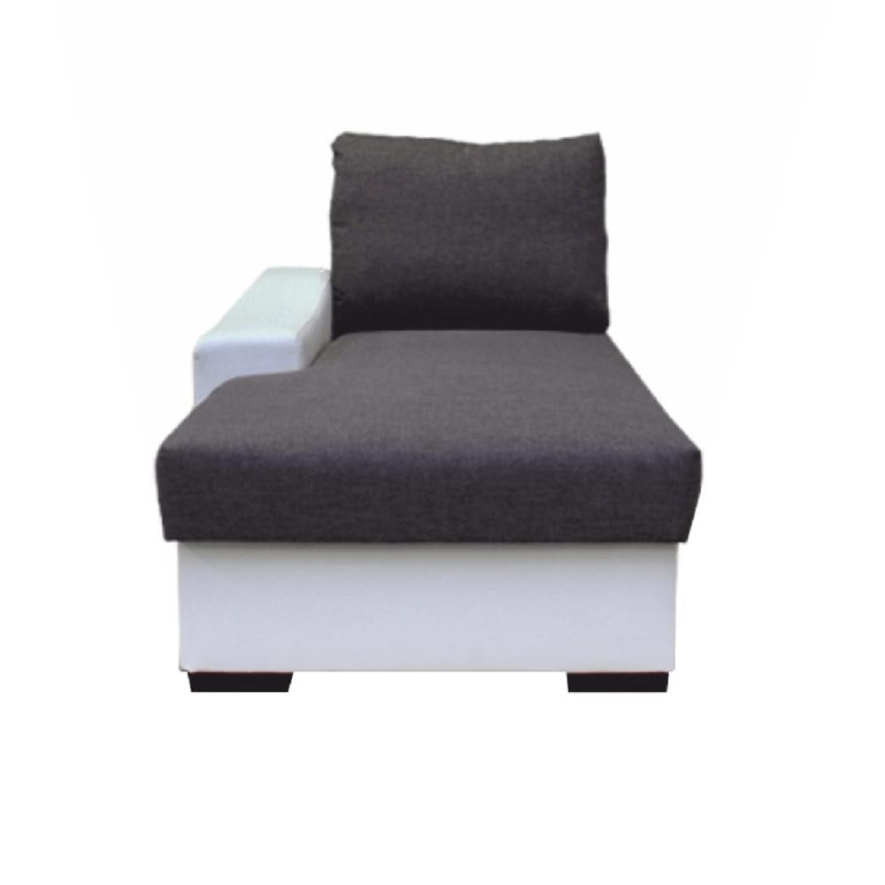 Otoman s úložným prostorem, bílá / šedá, levý, OREGON 01-TOM, TEMPO KONDELA