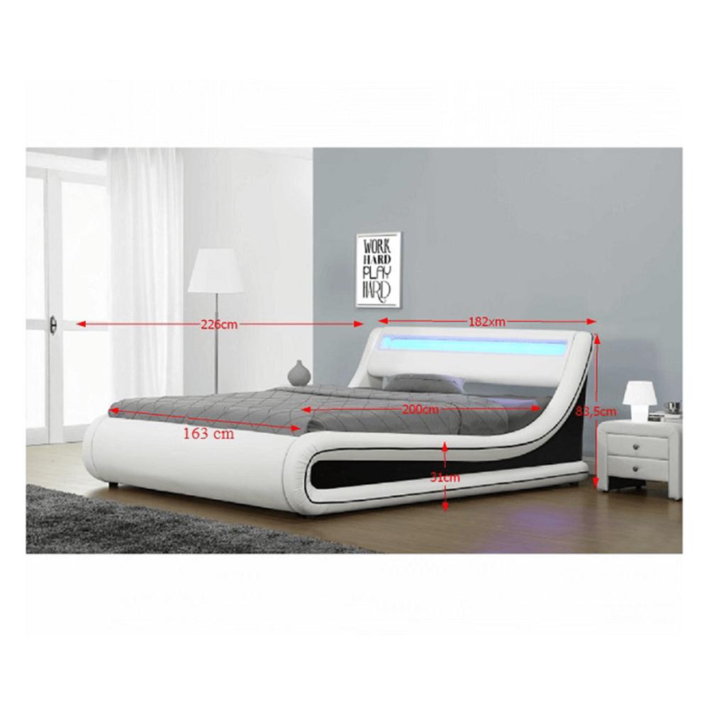 MANILA NEW - manželská postel s RGB LED osvetlením, bíla/cerná, 160x200, TEMPO KONDELA