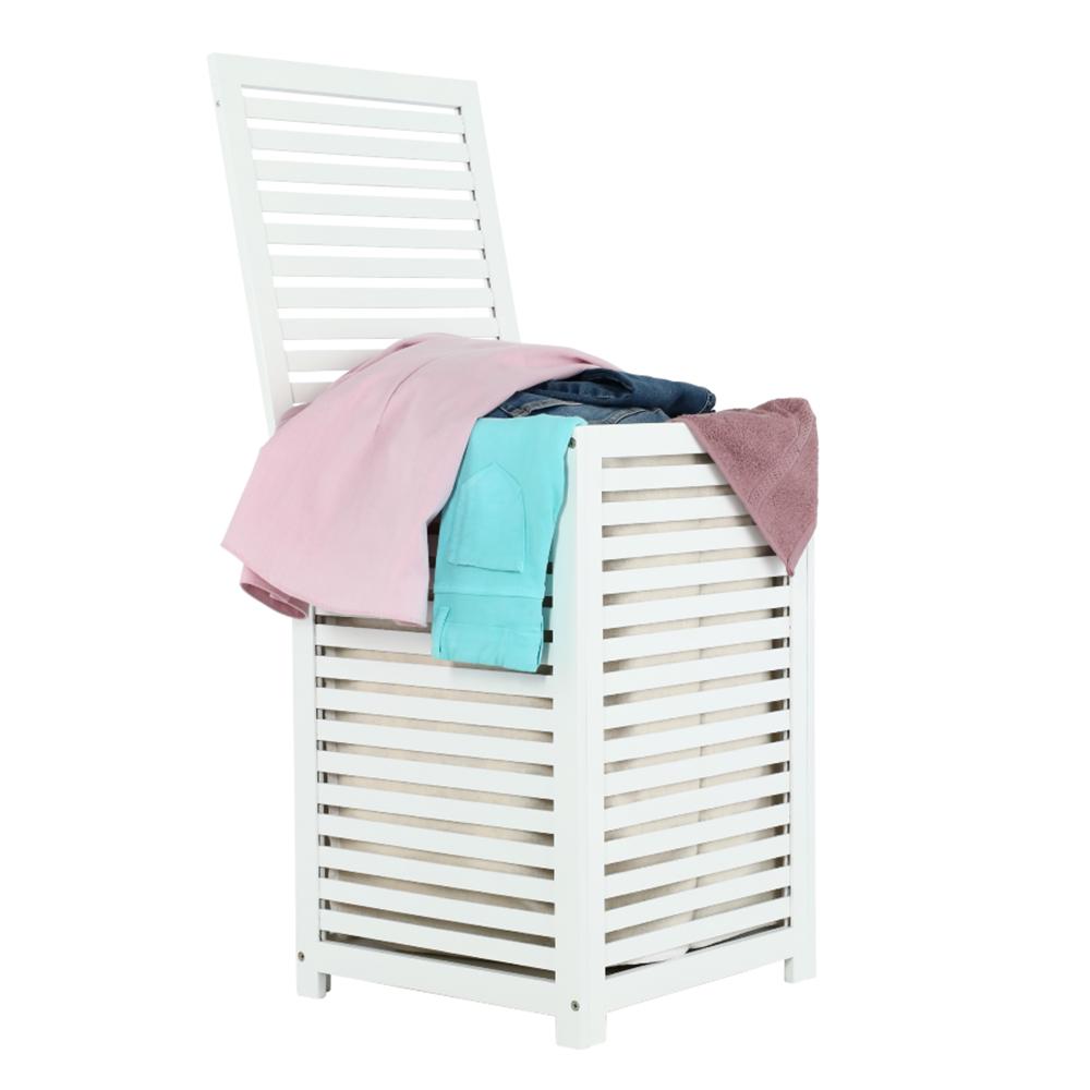 Koš na prádlo, lakovaný bambus/bílá/béžová, BASKET